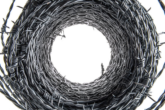 Barbed wire coil interior forming tunnel