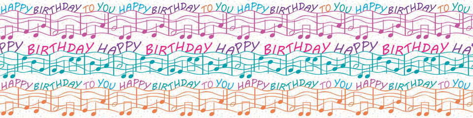 Colorful musical birthday congratulations border with text and musical notes. Seamless vector pattern in purple, blue, orange, on white terrazzo background. Perfect for gifts, stationery, party, kids