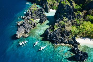 Aerial view of Hidden beach in El Nido, Palawan, Philippines
