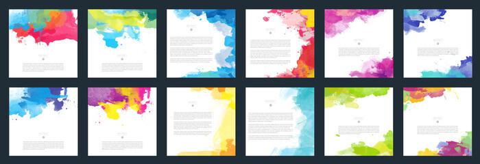 Fototapeta Big set of bright vector colorful watercolor background for poster, brochure or flyer obraz