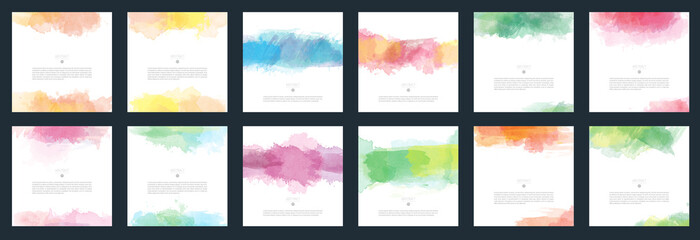 Big set of vector light colorful watercolor background for poster, brochure or flyer
