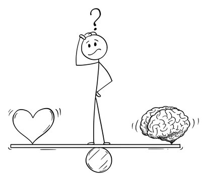 Vector cartoon stick figure drawing conceptual illustration of man or businessman thinking and standing on seesaw and balancing heart and brain as emotion and logic metaphor.