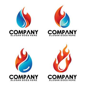 Water fire logo collection, water drop shape fire design vector template