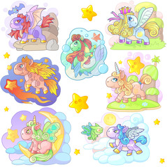 cartoon cute little pony set of funny images