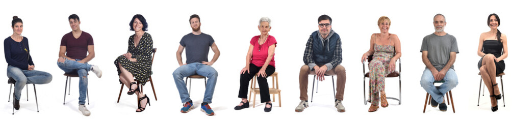 group of people sitting on white background Wall mural