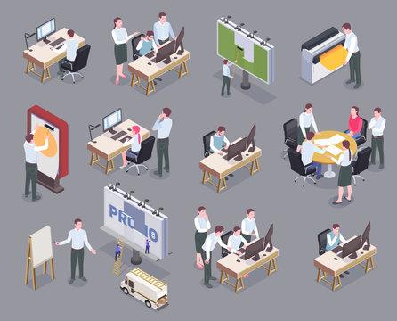 Advertising Agency Isometric Icons Set