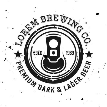 Beer can top view vector emblem, label, badge