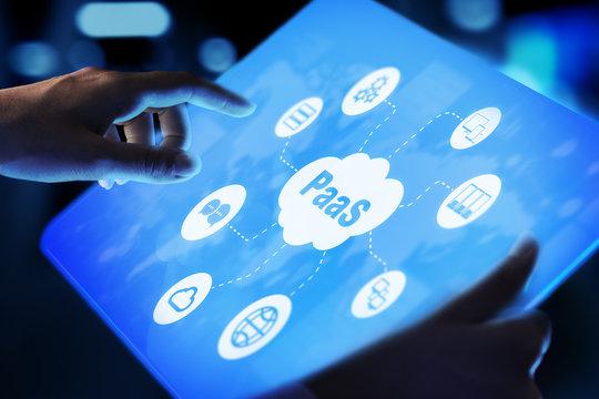PaaS - Platform as a service, Internet technology and development concept.