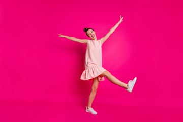 Full length body size view photo charming lovely nice lady free time voyage spring summer travel promenade close eyes content satisfied skirt fashionable sneakers scream isolated colorful background