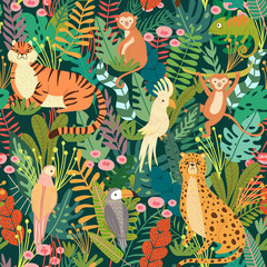 Seamless pattern with tropical animals and bird in jungle. Exotic animals, birds, plants. Monkey, leopard, tiger, parrot, toucan, chameleon. Vector illustration backgrounds.