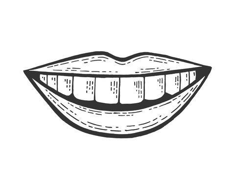 Female smile mouth sketch engraving vector illustration. Scratch board style imitation. Black and white hand drawn image.