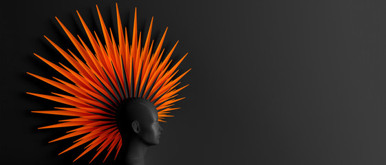 Abstract dark background with female profile and stylized defiant fashionable Mohawk hairstyle in a red coral color 3D illustration