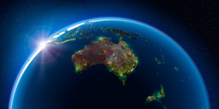 Earth at night and the light of cities. Australia and New Zealand.