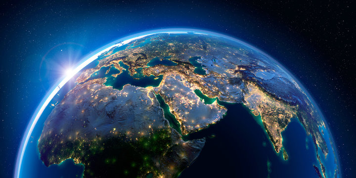 Earth at night and the light of cities. Middle East.