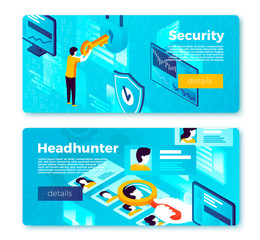 Vector set of bright banner templates with internet security system and head hunter working process. With place for your text.