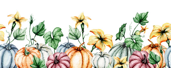 Seamless border, Halloween autumn illustration. Banner with watercolor pumpkins perfect for Halloween party invite, card, background, poster. Isolated on white, hand drawn.