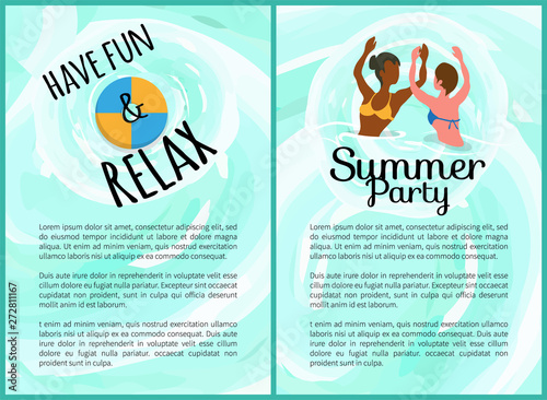 Have fun and relax vector, summer party set  Summertime