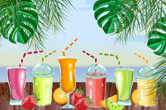 Cocktail drinks set Vector. Fresh juicy smothies and beverages on seaside background. summer tropic template beach bars