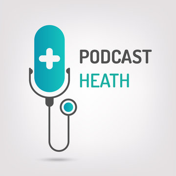 logo or icon podcast health with white background,vector graphic