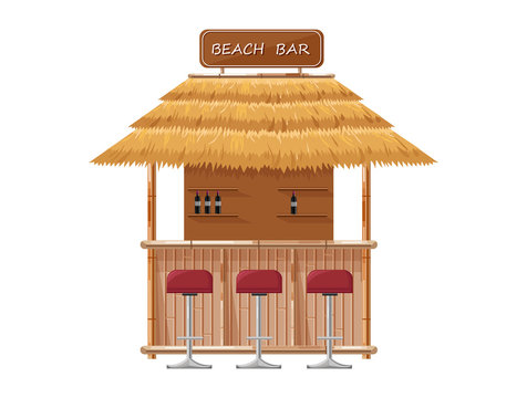 Beach bar Vector. Summer tropic seaside. Wooden house template icons