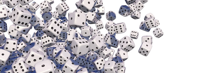 Flying white dices, isolated