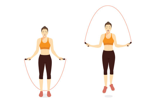 Woman doing Exercise with Jump skipping Rope in 2 step. Illustration about workout with lightweight equipment.