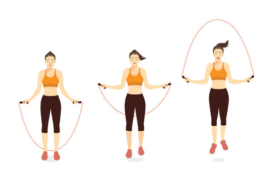 Woman doing Exercise with speed jumping rope in 3 step. Illustration about workout with lightweight equipment.