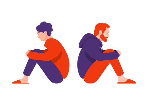 Profiles of a man and a woman in a quarrel. Divorce.  Conflicts between husband and wife. Depression and anxiety. Vector illustration in flat style