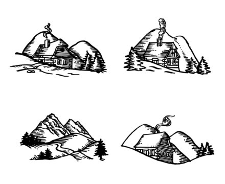 mountain landscape with wooden hut with trees, hills and meadow, black and white line drawing set