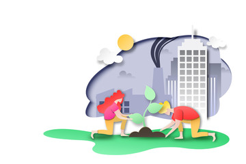 Paper art of environment and ecology conservation concept landing page background.People plant tree at city with factory and pollution.Vector illustration.