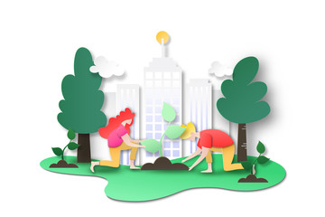Printed kitchen splashbacks Castle Paper art of environment and ecology conservation concept landing page background.People plant tree at city to green world.Vector illustration.