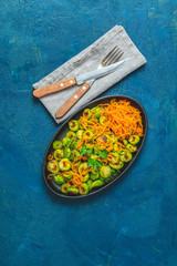 Brussels sprouts and marinated carrot chips