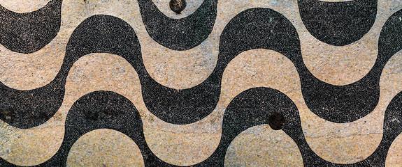Printed kitchen splashbacks Rio de Janeiro Empty boulevard sidewalk wave pattern of cobblestones of Copacabana beach at early morning sunrise in Rio de Janeiro. Close up with texture of real street walkway.