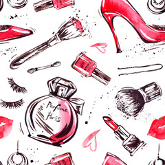 Glamorous make up seamless pattern with nail polish and lipstick.Creative design for card, web background, book cover.