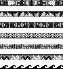 Collection of Greek Key / Meander geometric ornamental borders. Seamless decorative set in black color.