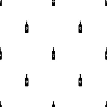 Seamless pattern with bottle of wine on white background. Vector illustration for design, web, wrapping paper, fabric, wallpaper.