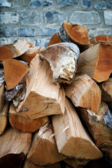 Woodpile background view