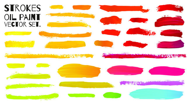 Colorful oil paint brush strokes. Pink, red, orange and yellow tints. Isolated spots on white background. - Vector