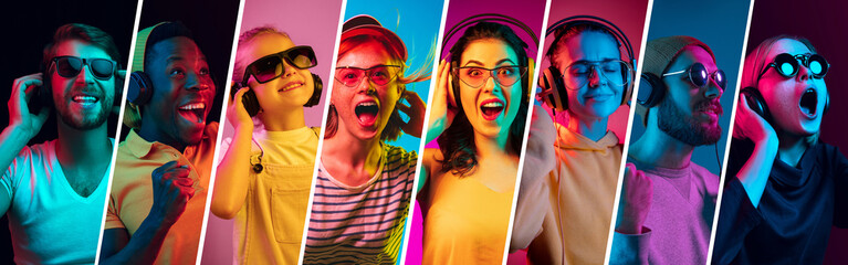 Beautiful female and male models on multicolored neon lights studio background. Facial expression, summer, resort, weekend concept. Trendy colors. Collage made of different photos of 7 models.