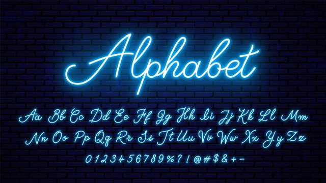 Neon blue letters. Bright neon glowing font, alphabet for signboard design, decoration and more.