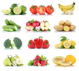 Wall Mural - Fruits vegetables collection isolated apple apples strawberries tomatoes banana colors fresh fruit