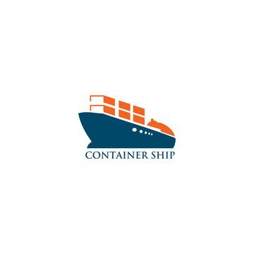Container ship icon logo design vector template