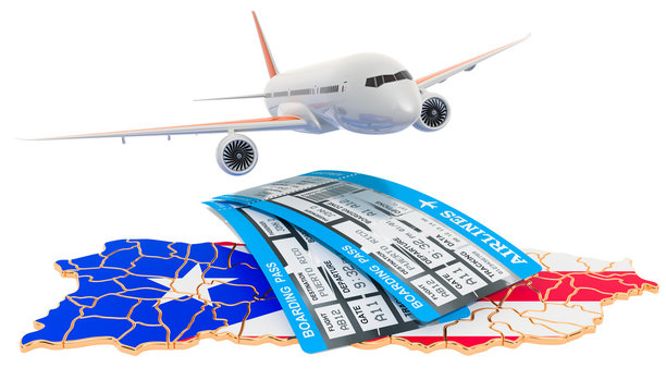 Flights to Puerto Rico concept. 3D rendering
