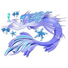 In de dag Draw Mermaid Purple Fairy Creature isolated on white Vector illustration