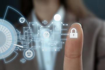 Businesswoman pressing control glass of biometric fingerprint scanner, closeup. Space for text