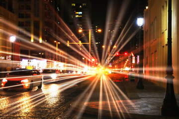 DUBAI, UNITED ARAB EMIRATES - NOVEMBER 03, 2018: City street traffic at night