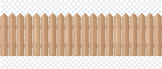 Endless wooden fence on a transparent background