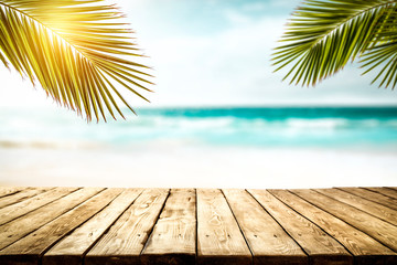 Tuinposter Palm boom Summer background of free space and beach landscape