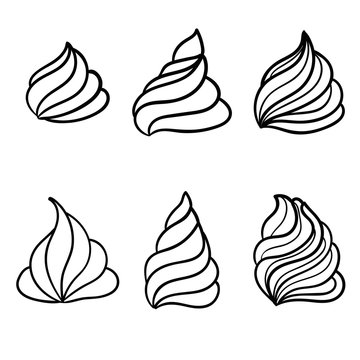 Cream for cakes. Doodle ice cream. Vector illustration.