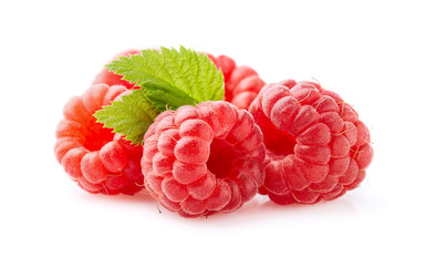 Raspberry with leaf in closeup